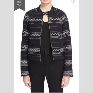 A.L.C. Boucle Embroidered Stripe Moto Jacket